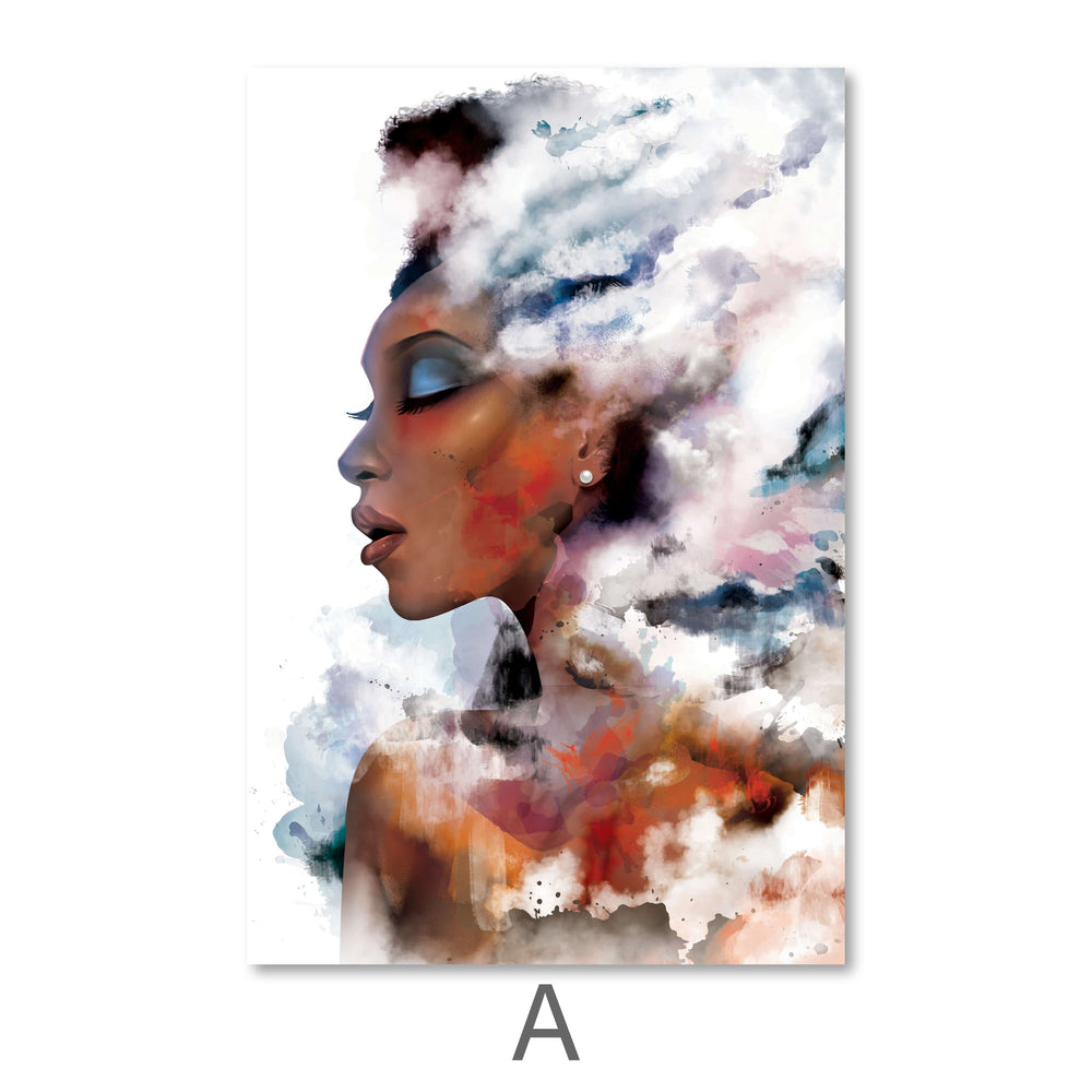 Clouded Woman Canvas Art A / 40 x 50cm / Standard Gallery Wrap Clock Canvas
