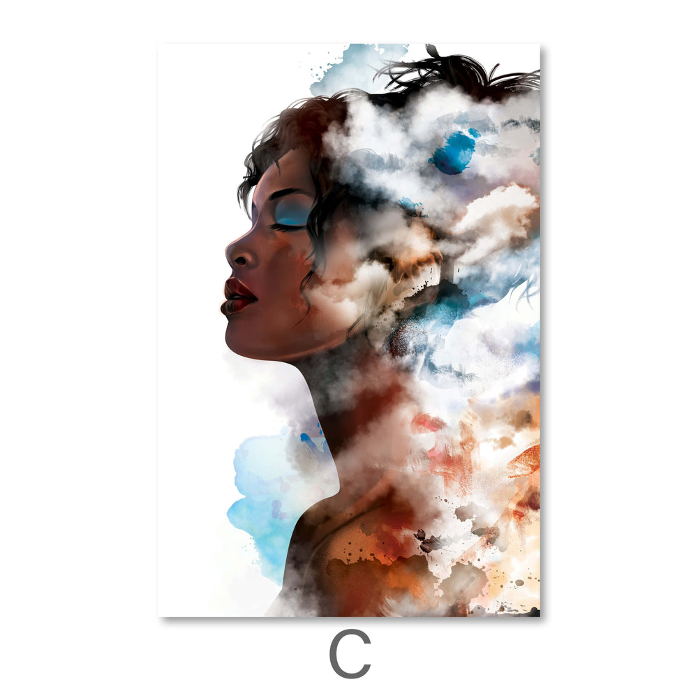 Clouded Woman Canvas Art C / 40 x 50cm / Standard Gallery Wrap Clock Canvas