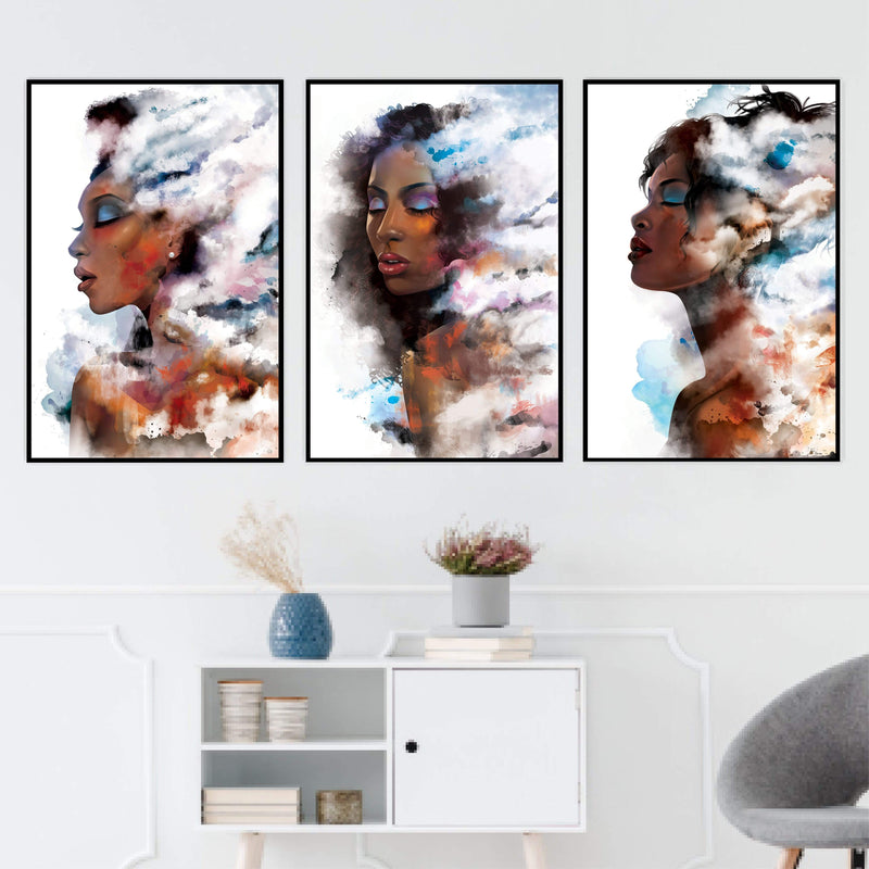 Clouded Woman Canvas Art Set of 3 / 40 x 50cm / Standard Gallery Wrap Clock Canvas