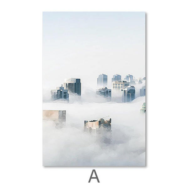 Cloudy City Canvas Art A / 40 x 50cm / No Board - Canvas Print Only Clock Canvas