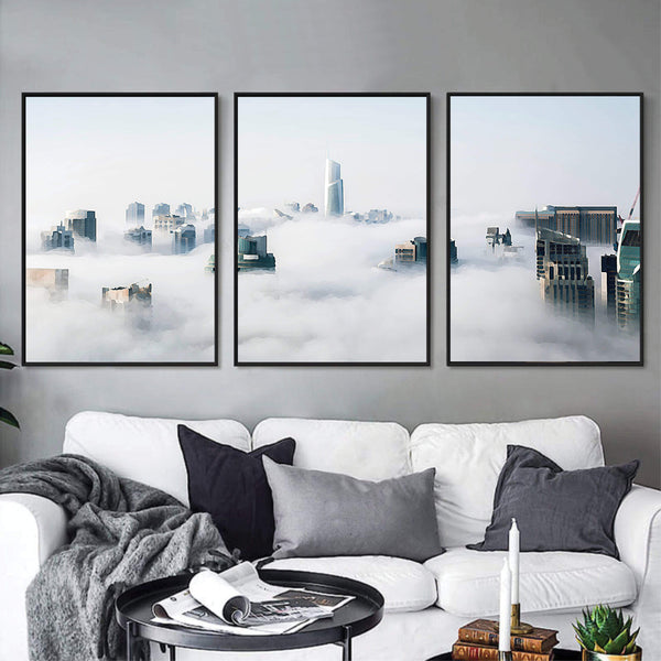 Cloudy City Canvas Art Set of 3 / 40 x 50cm / No Board - Canvas Print Only Clock Canvas