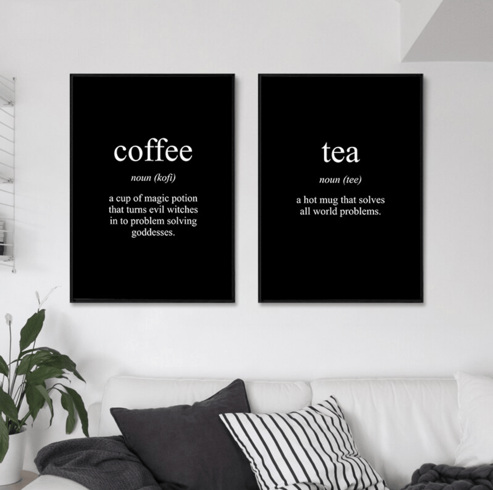 Coffee and Tea Canvas Art Set of 2 / 40 x 50cm / No Board - Canvas Print Only Clock Canvas