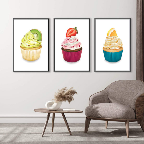Cupcake Delicacies Canvas Art Set of 3 / 30 x 45cm / Unframed Canvas Print Clock Canvas