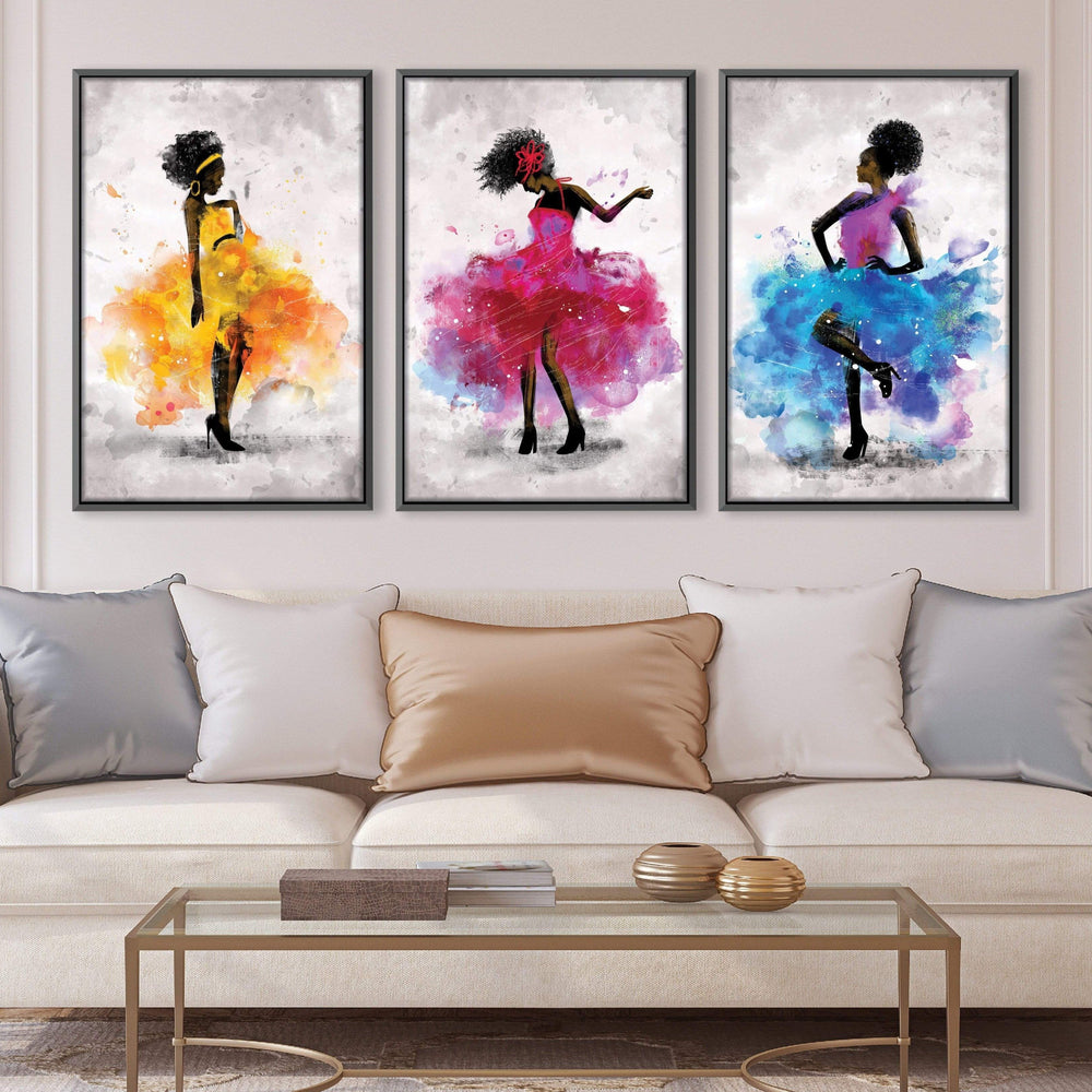Dancing Queen Canvas Art Set of 3 / 40 x 50cm / No Board - Canvas Print Only Clock Canvas