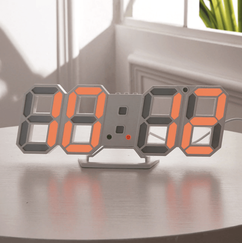Digitizer Desk Clock White - Orange Clock Canvas