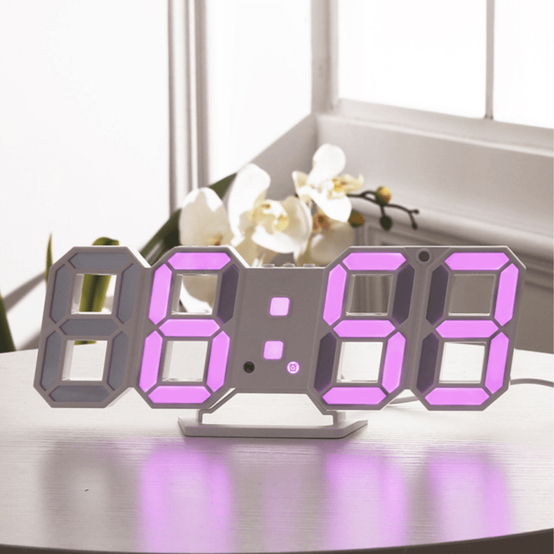 Digitizer Desk Clock White - Purple Clock Canvas