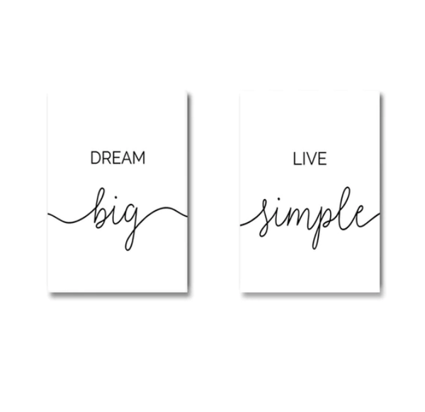 Dream Big Canvas Art Set of 2 / 40 x 50cm / No Board - Canvas Print Only Clock Canvas