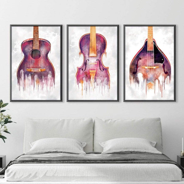 Drip Orchestra Canvas Art Set of 3 / 30 x 45cm / Unframed Canvas Print Clock Canvas