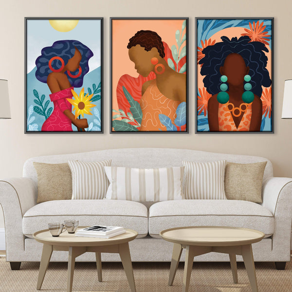 Dynamic Woman Canvas Art Set of 3 / 40 x 50cm / No Board - Canvas Print Only Clock Canvas
