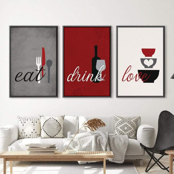 Eat Drink Love Canvas Art Clock Canvas