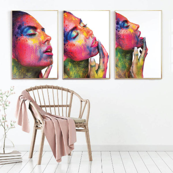 Ecstasy Canvas Art Set of 3 / 40 x 50cm / No Board - Canvas Print Only Clock Canvas