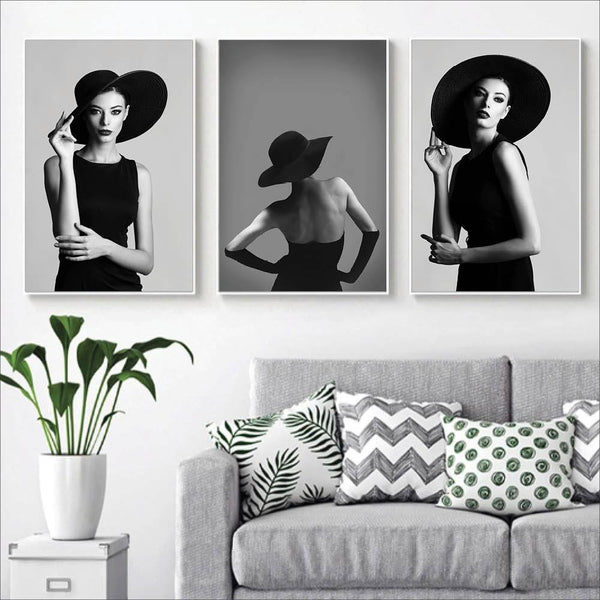 EnVogue Woman Canvas Art Set of 3 / 40 x 50cm / No Board - Canvas Print Only Clock Canvas