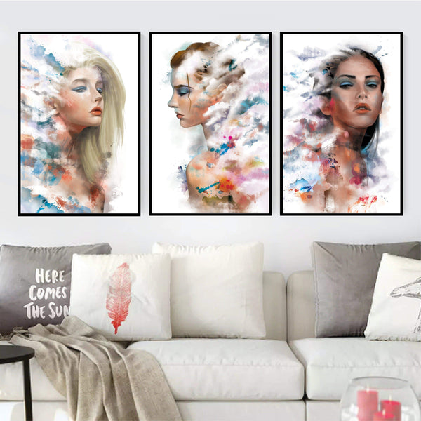 Faded Woman Canvas Art Set of 3 / 40 x 50cm / No Board - Canvas Print Only Clock Canvas