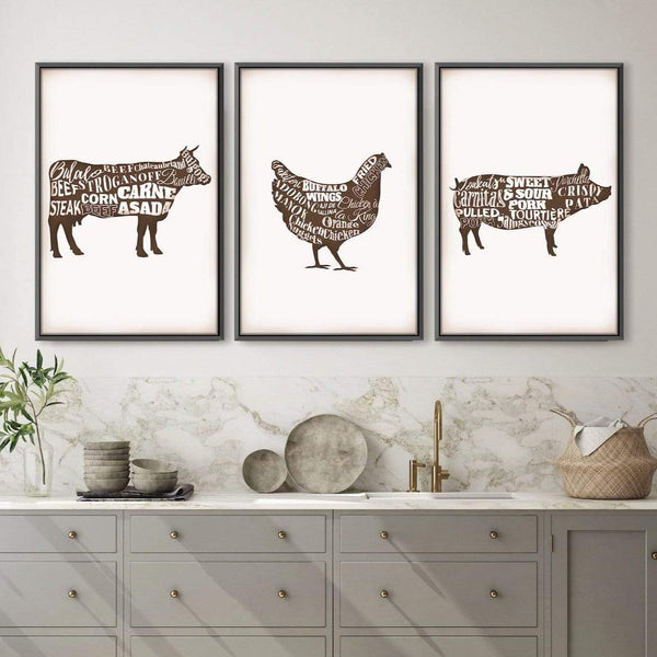 Farm Animals Canvas Art Set of 3 / 30 x 45cm / Unframed Canvas Print Clock Canvas
