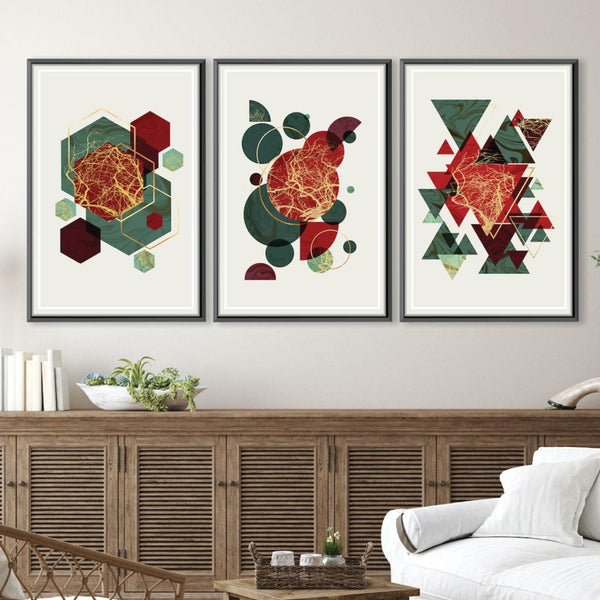 Festive Motif Canvas Art Set of 3 / 40 x 50cm / Unframed Canvas Print Clock Canvas
