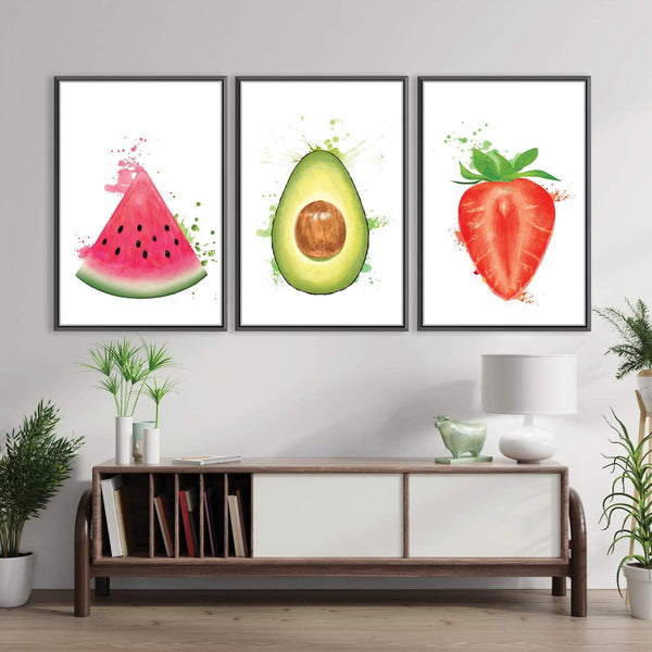Fruity Delight Canvas Art Set of 3 / 30 x 45cm / Unframed Canvas Print Clock Canvas