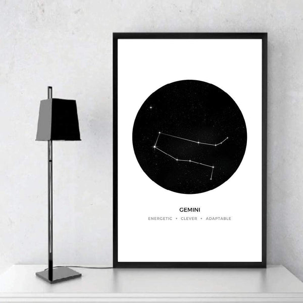 Gemini Traits Canvas Art Clock Canvas