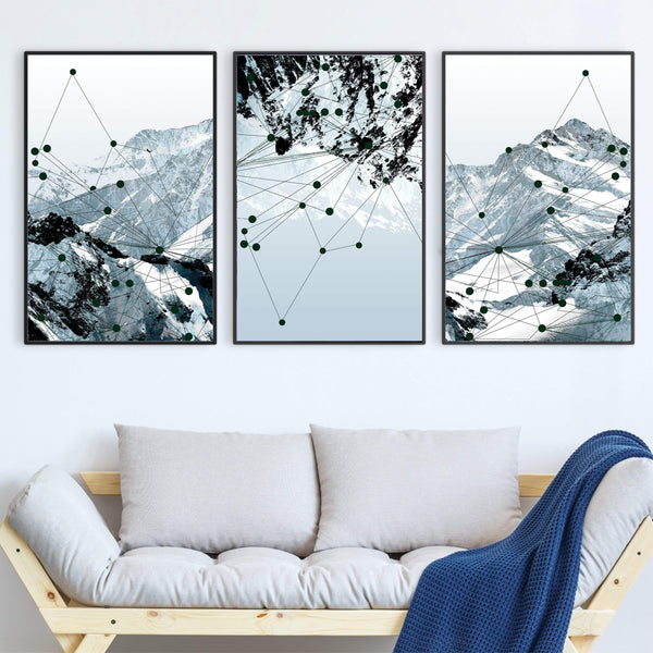 Geo Mountain Canvas Art Set of 3 / 40 x 50cm / No Board - Canvas Print Only Clock Canvas