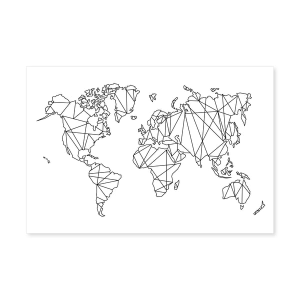 Geometric World Map Canvas Art Clock Canvas