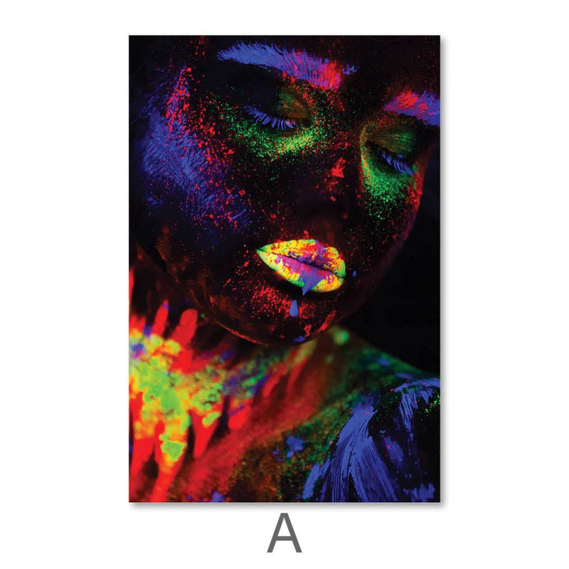Glowing Woman Canvas Art A / 40 x 50cm / No Board - Canvas Print Only Clock Canvas