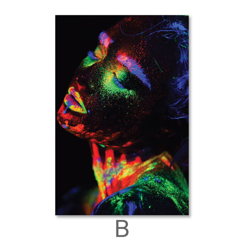 Glowing Woman Canvas Art B / 40 x 50cm / No Board - Canvas Print Only Clock Canvas