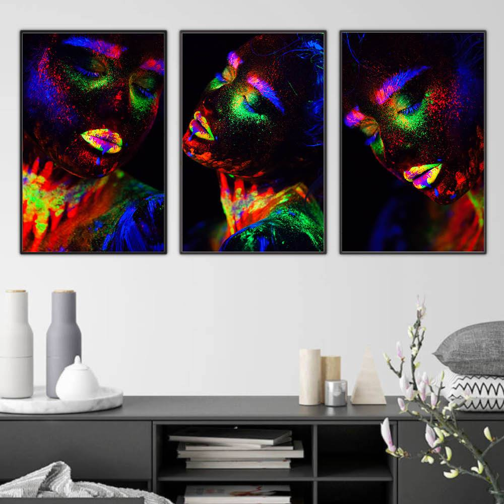 Glowing Woman Canvas Art Set of 3 / 40 x 50cm / No Board - Canvas Print Only Clock Canvas