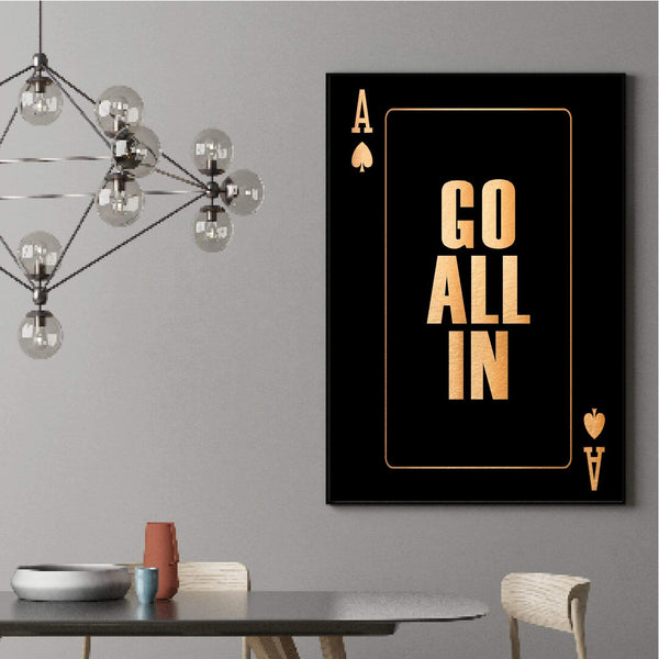 Go All In - Gold Clock Canvas