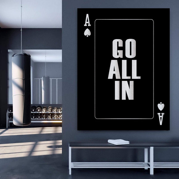 Go All In - Silver Clock Canvas