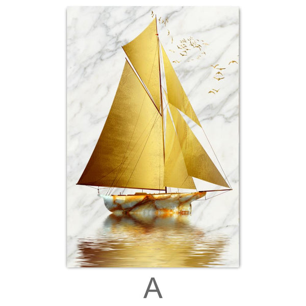Golden Boat Canvas Art A / 40 x 50cm / No Board - Canvas Print Only Clock Canvas