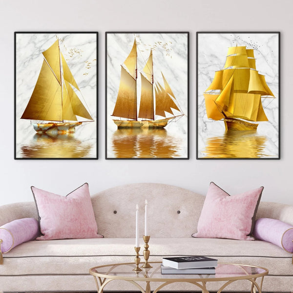 Golden Boat Canvas Art Set of 3 / 40 x 50cm / No Board - Canvas Print Only Clock Canvas
