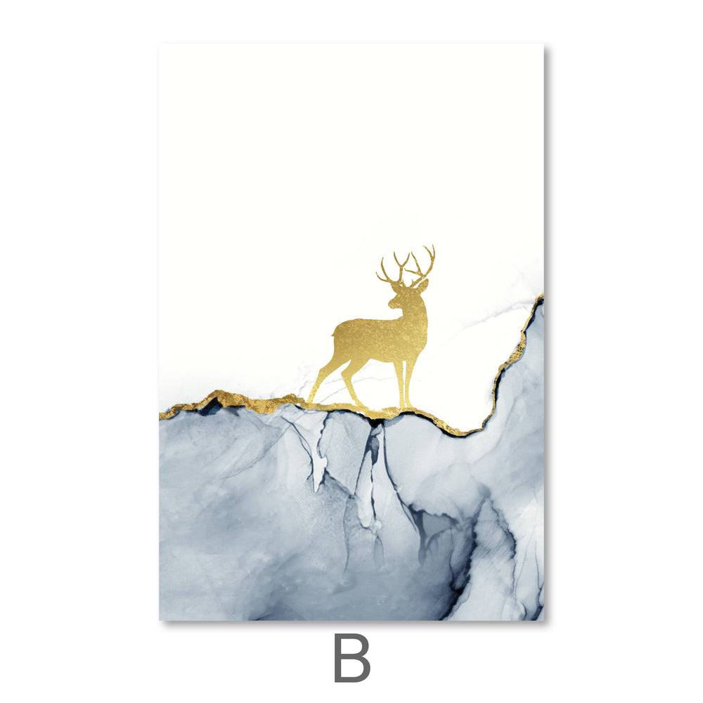 Golden Deer Canvas Art 40 x 60cm / B / No Board - Canvas Print Only Clock Canvas