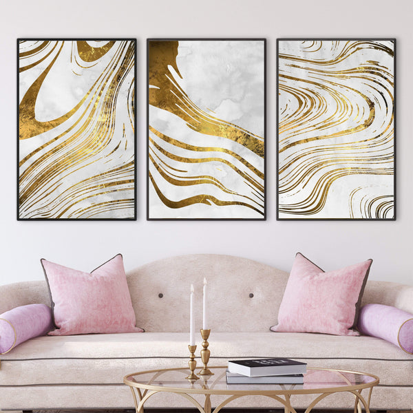 Golden Ripple Canvas Art Set of 3 / 40 x 50cm / No Board - Canvas Print Only Clock Canvas