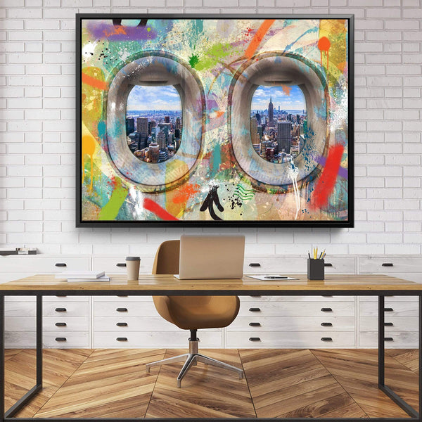 Graffiti Plane - New York Clock Canvas