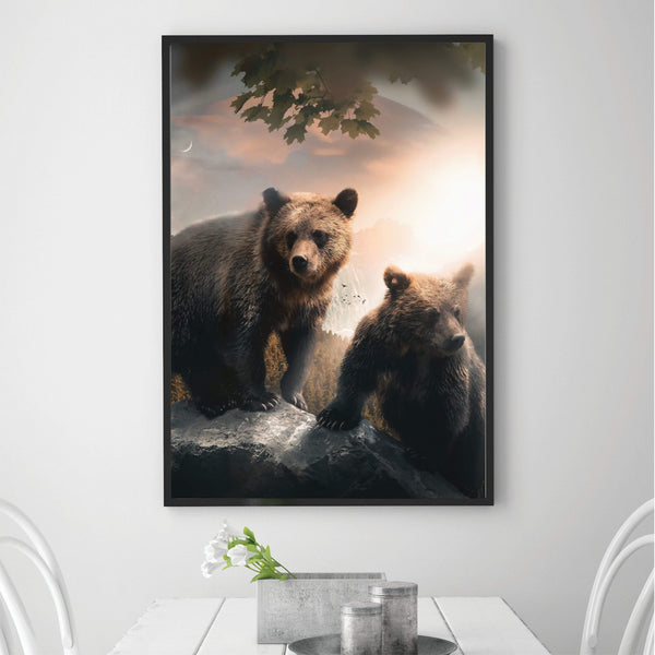 Grizzly Sunrise Canvas Art Clock Canvas