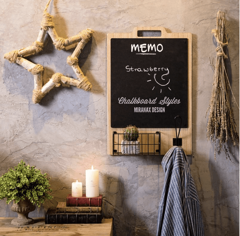 Hanging Blackboard Shelf Clock Canvas