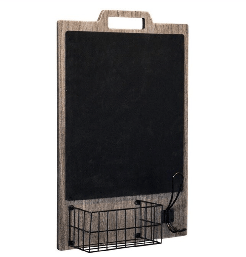 Hanging Blackboard Shelf Dark Wood Clock Canvas