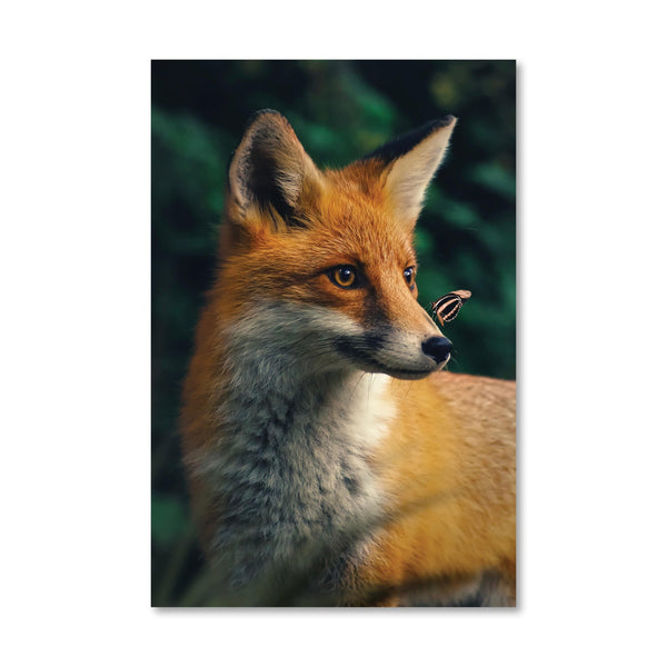 Happy Fox Canvas Art Clock Canvas