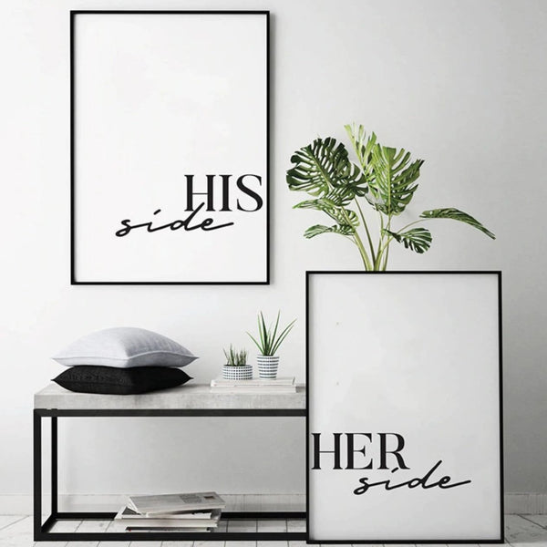 His Side Her Side Canvas Art Set of 2 / 40 x 50cm / No Board - Canvas Print Only Clock Canvas