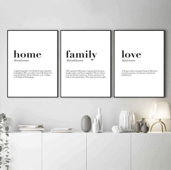 Home Family Love Canvas Art Set of 3 / 40 x 50cm / No Board - Canvas Print Only Clock Canvas