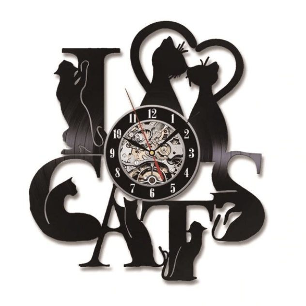 I Love Cats Music Vinyl Clock Clock Canvas