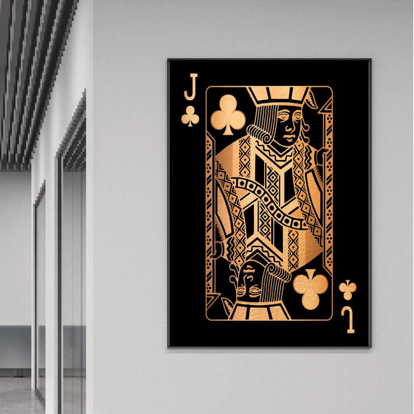 Jack of Clubs - Gold Clock Canvas