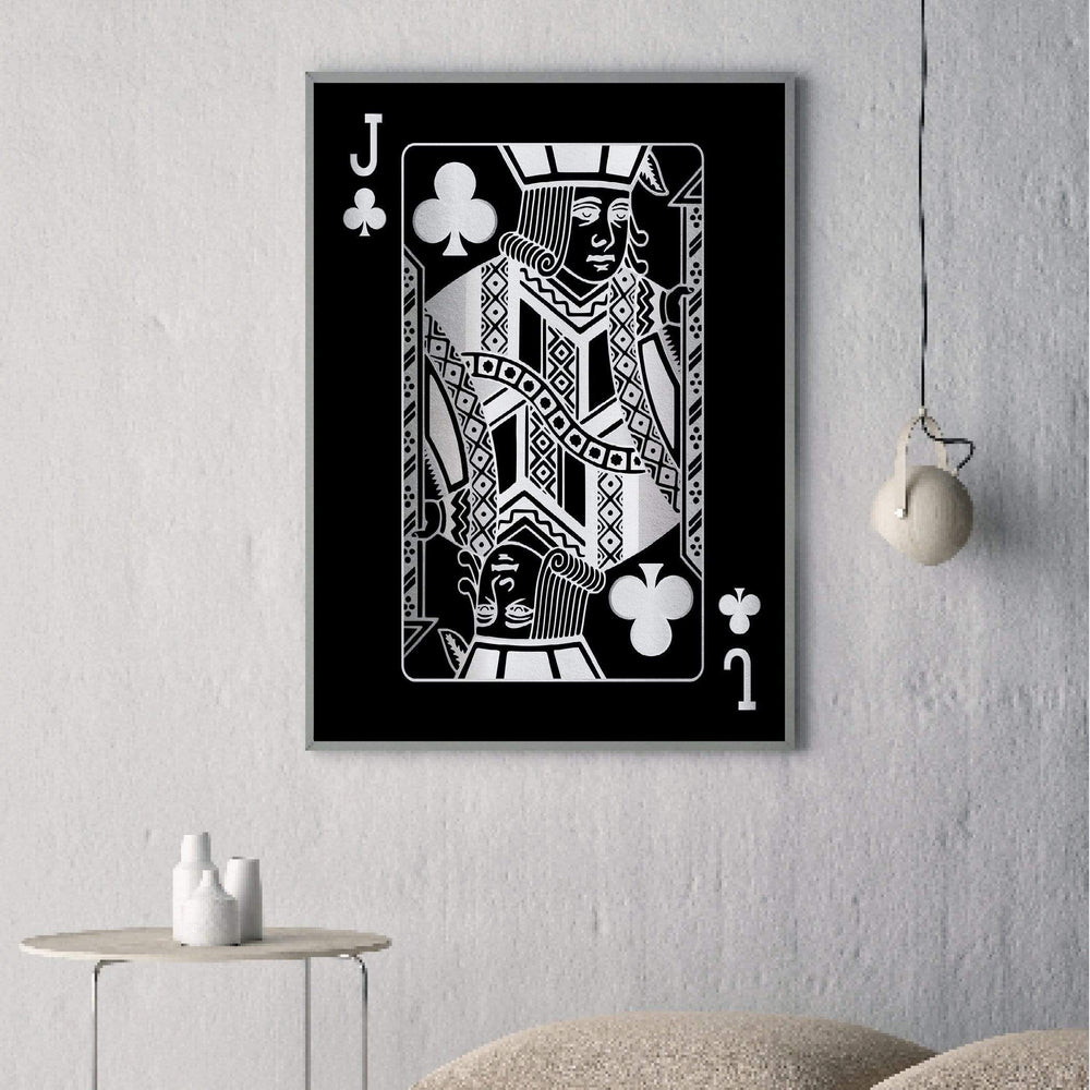 Jack of Clubs - Silver Clock Canvas
