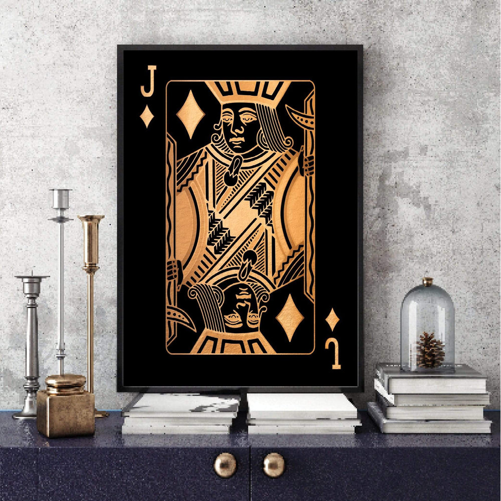 Jack of Diamonds - Gold Clock Canvas
