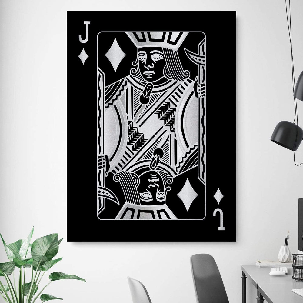 Jack of Diamonds - Silver Clock Canvas