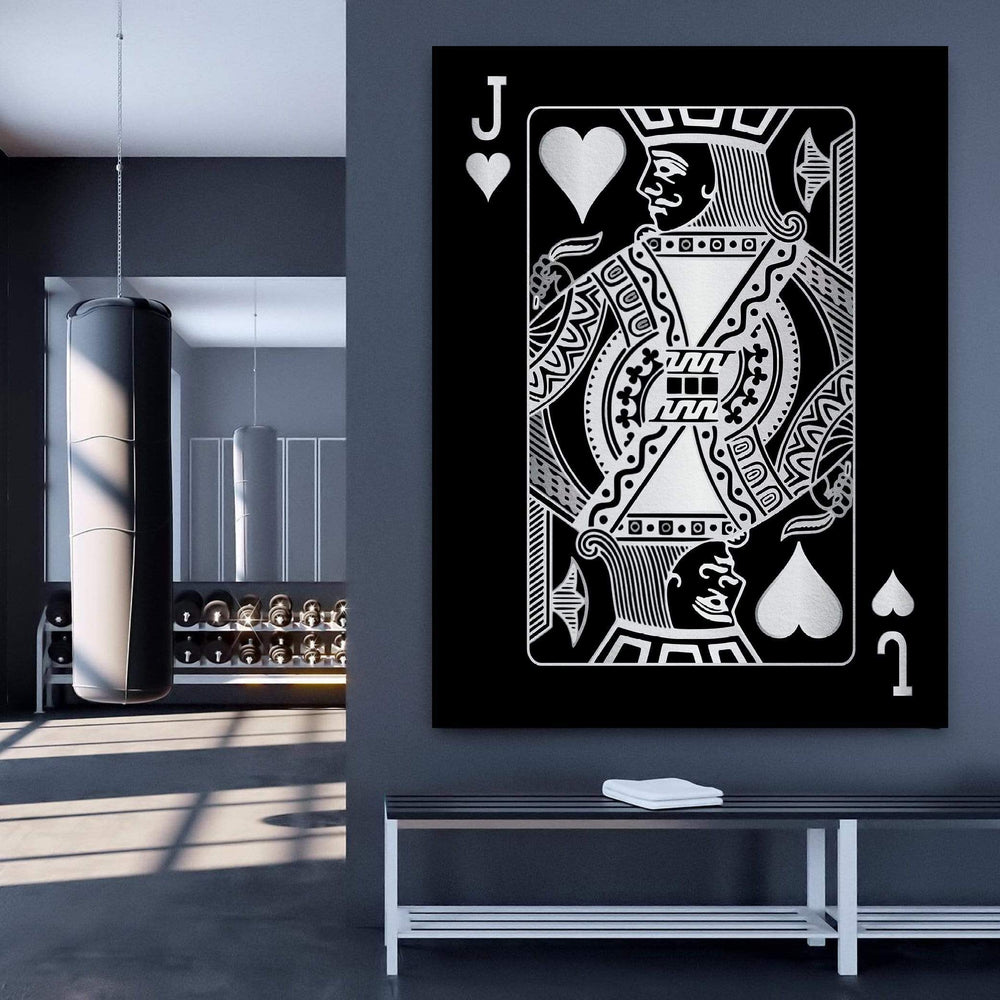 Jack of Hearts - Silver Clock Canvas