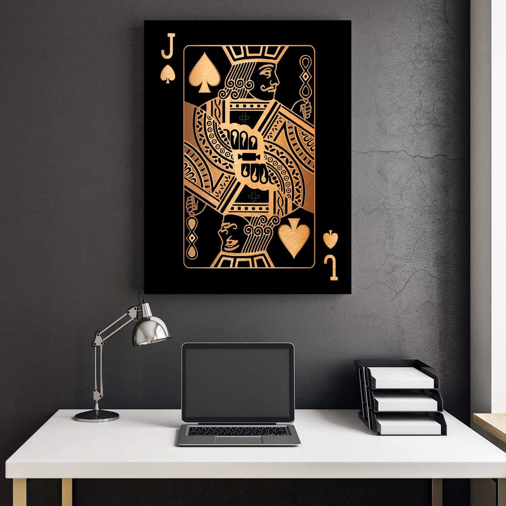 Jack of Spades - Gold Clock Canvas