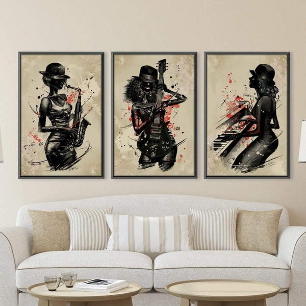 Jammin Artists Canvas Art Set of 3 / 40 x 50cm / Unframed Canvas Print Clock Canvas