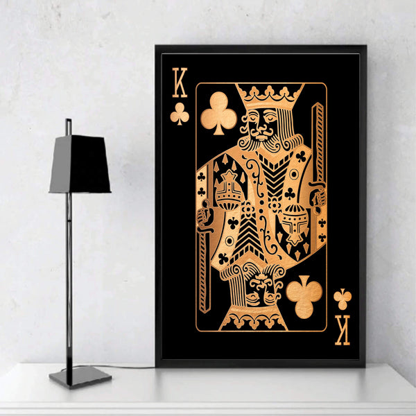 King of Clubs - Gold Clock Canvas