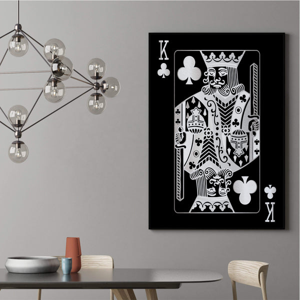 King of Clubs - Silver Clock Canvas