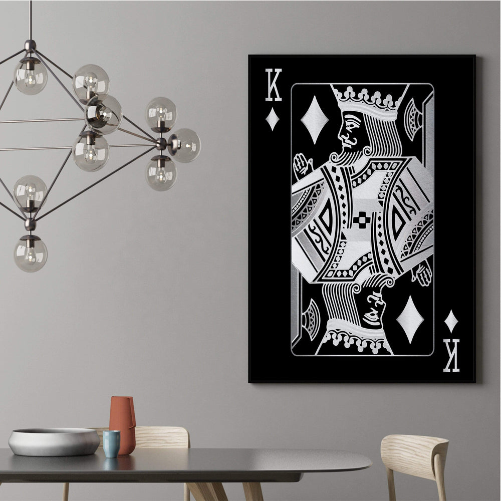 King of Diamonds - Silver Clock Canvas